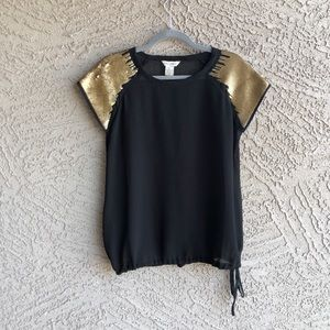 FUN & FLIRT Sheer Black & Gold Sequin Blouse Top
